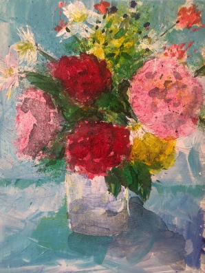 Garden flowers in vase acrylic painting on canvas 10 x 8 £100