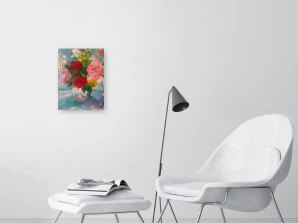 Garden flowers in vase acrylic painting on canvas